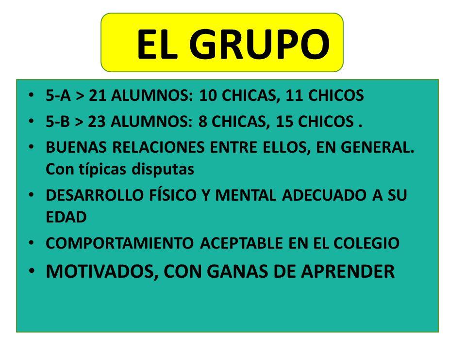 EL GRUPO 5-A > 21 ALUMNOS: 10 CHICAS, 11 CHICOS 5-B > 23 ALUMNOS: 8 CHICAS, 15 CHICOS. BUENAS RELACIONES ENTRE ELLOS, EN GENERAL. Con típicas disputas