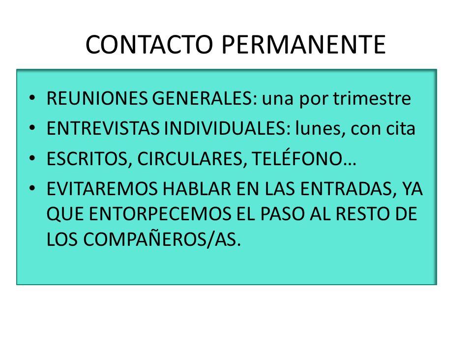 CONTACTO PERMANENTE REUNIONES GENERALES: una por trimestre ENTREVISTAS INDIVIDUALES: lunes, con cita ESCRITOS, CIRCULARES, TELÉFONO… EVITAREMOS HABLAR