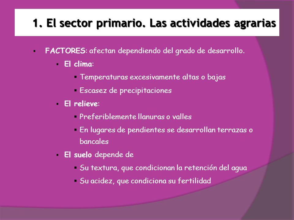 1. El sector primario. Las actividades agrarias FACTORES: afectan dependiendo del grado de desarrollo. El clima: Temperaturas excesivamente altas o ba