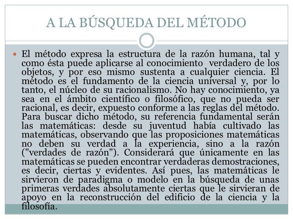 A LA BÚSQUEDA DEL MÉTODO El método expresa la estructura de la razón humana, tal y como ésta puede aplicarse al conocimiento verdadero de los objetos,