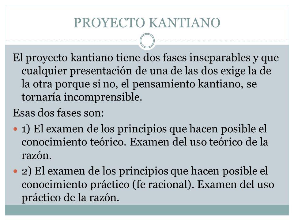 PROYECTO KANTIANO El proyecto kantiano tiene dos fases inseparables y que cualquier presentación de una de las dos exige la de la otra porque si no, e