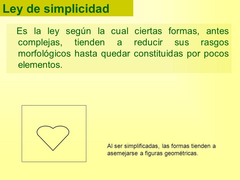 Ley de simplicidad Es la ley según la cual ciertas formas, antes complejas, tienden a reducir sus rasgos morfológicos hasta quedar constituidas por po