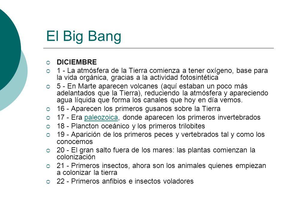 El Big Bang DICIEMBRE 1 - La atmósfera de la Tierra comienza a tener oxígeno, base para la vida orgánica, gracias a la actividad fotosintética 5 - En