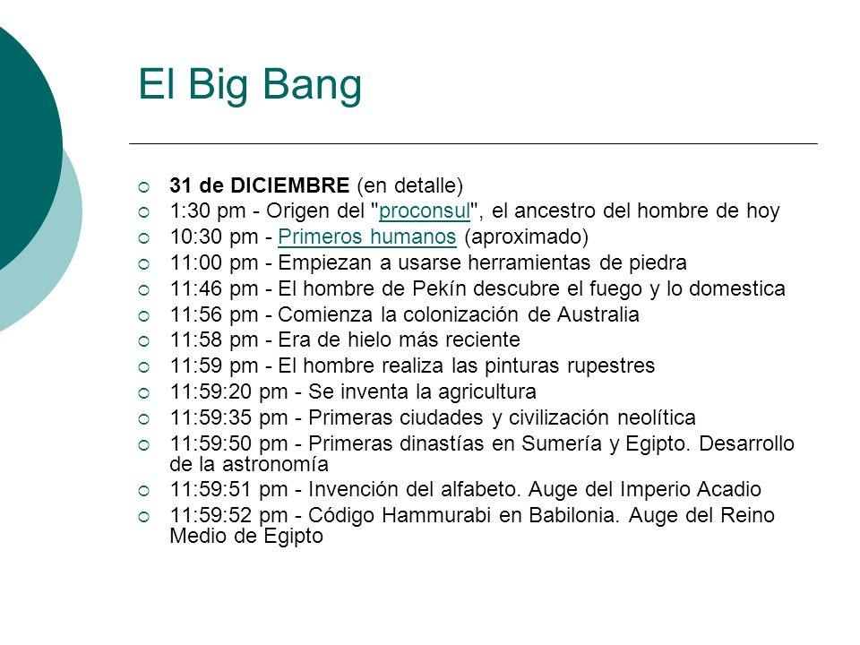 El Big Bang 31 de DICIEMBRE (en detalle) 1:30 pm - Origen del