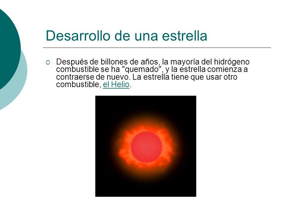 Desarrollo de una estrella Después de billones de años, la mayoría del hidrógeno combustible se ha