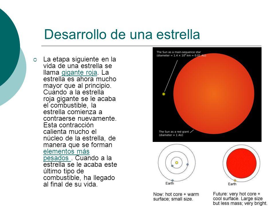 Desarrollo de una estrella La etapa siguiente en la vida de una estrella se llama gigante roja. La estrella es ahora mucho mayor que al principio. Cua
