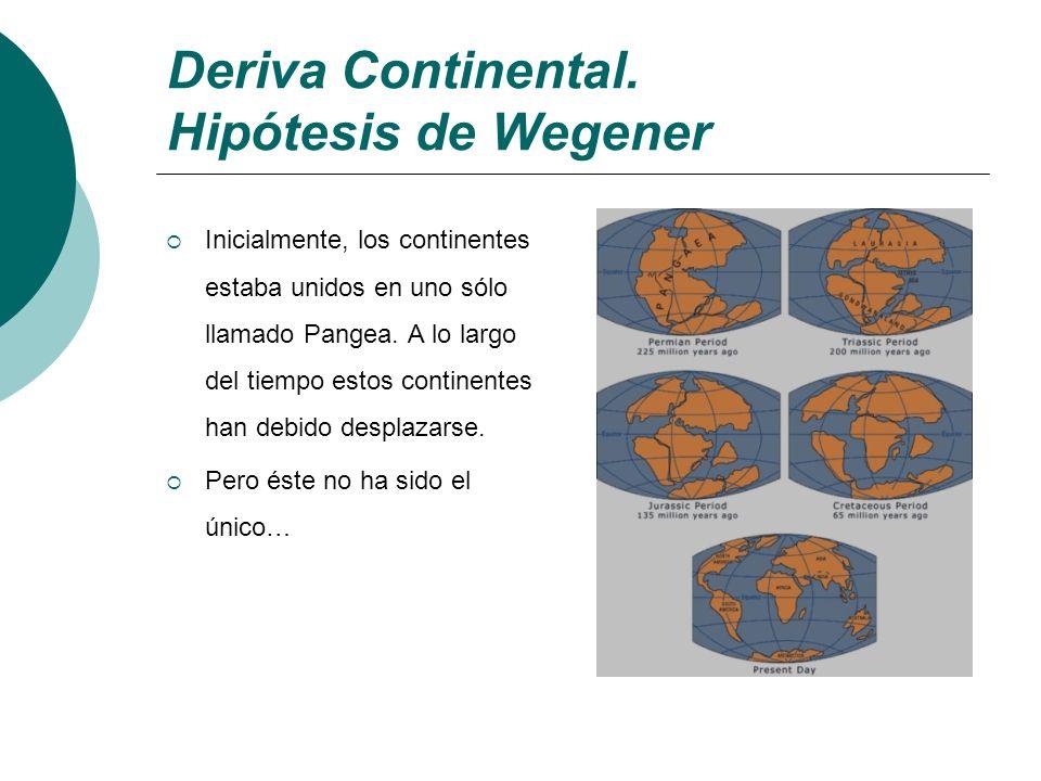 Deriva Continental. Hipótesis de Wegener Inicialmente, los continentes estaba unidos en uno sólo llamado Pangea. A lo largo del tiempo estos continent