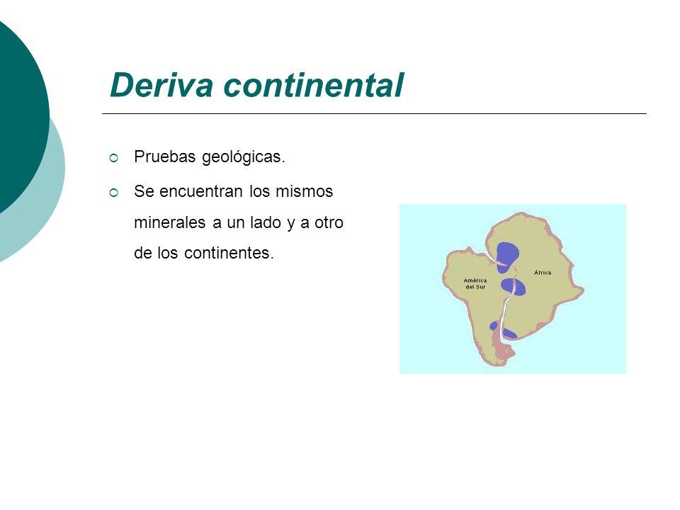 Deriva continental Pruebas geológicas. Se encuentran los mismos minerales a un lado y a otro de los continentes.