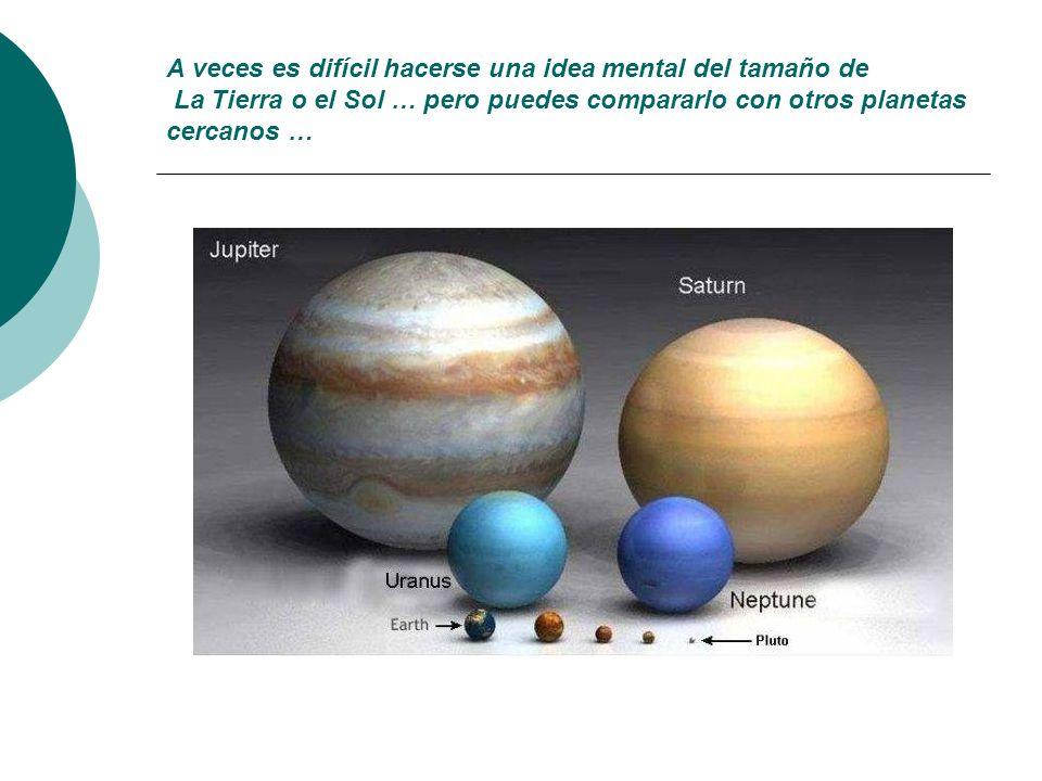 Si comparamos el Sol con los planetas vemos que la diferencia es enorme, que nuestra estrella es muy grande!!!