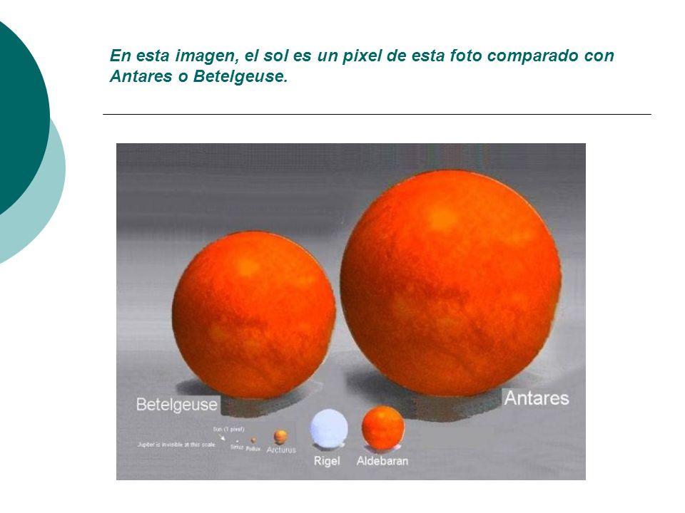 En esta imagen, el sol es un pixel de esta foto comparado con Antares o Betelgeuse.