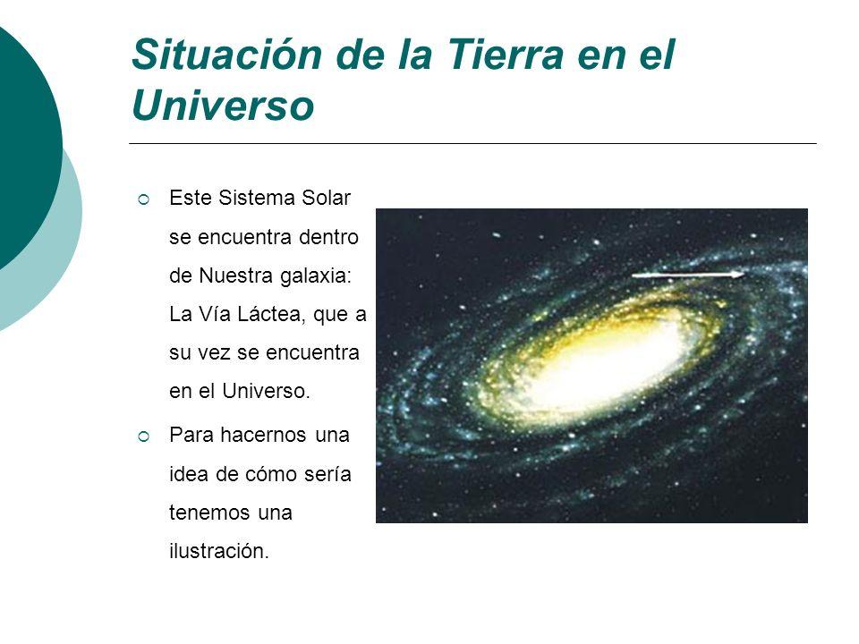 Situación de la Tierra en el Universo Este Sistema Solar se encuentra dentro de Nuestra galaxia: La Vía Láctea, que a su vez se encuentra en el Univer