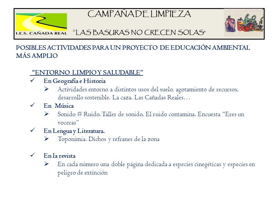 CAMPAÑA DE LIMPIEZA LAS BASURAS NO CRECEN SOLAS POSIBLES ACTIVIDADES PARA UN PROYECTO DE EDUCACIÓN AMBIENTAL MÁS AMPLIO ENTORNO LIMPIO Y SALUDABLE En