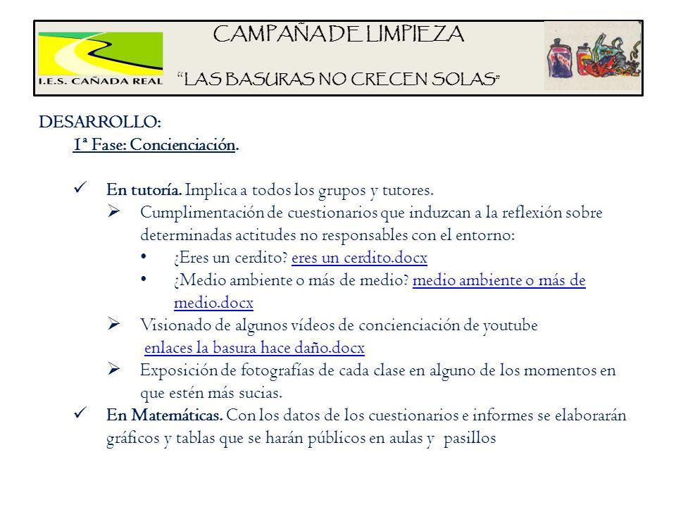 CAMPAÑA DE LIMPIEZA LAS BASURAS NO CRECEN SOLAS DESARROLLO: 1ª Fase: Concienciación. En tutoría. Implica a todos los grupos y tutores. Cumplimentación
