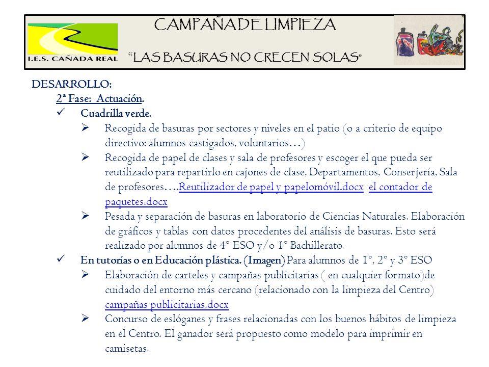 CAMPAÑA DE LIMPIEZA LAS BASURAS NO CRECEN SOLAS DESARROLLO: 2ª Fase: Actuación. Cuadrilla verde. Recogida de basuras por sectores y niveles en el pati