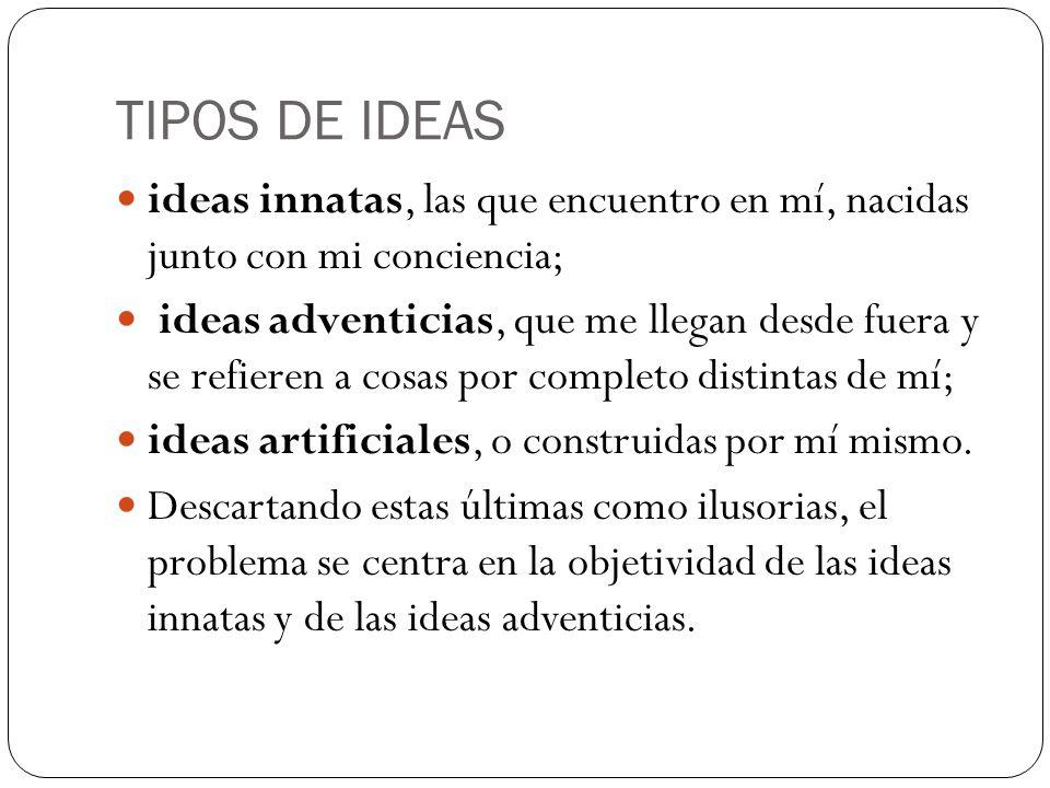 TIPOS DE IDEAS ideas innatas, las que encuentro en mí, nacidas junto con mi conciencia; ideas adventicias, que me llegan desde fuera y se refieren a c