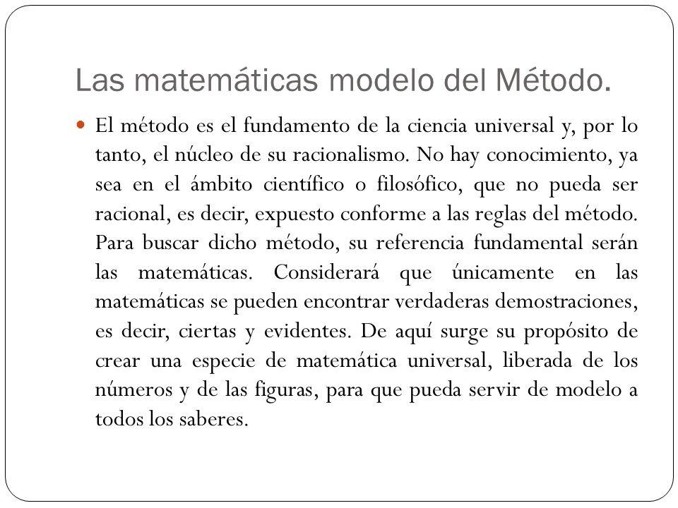 Las matemáticas modelo del Método. El método es el fundamento de la ciencia universal y, por lo tanto, el núcleo de su racionalismo. No hay conocimien