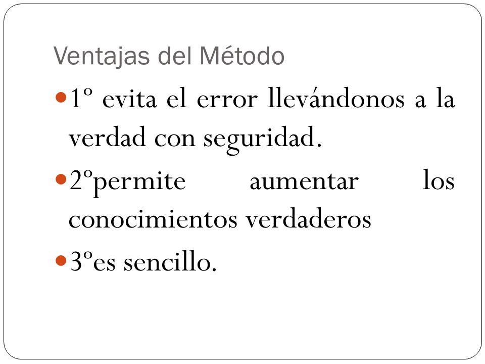Ventajas del Método 1º evita el error llevándonos a la verdad con seguridad. 2ºpermite aumentar los conocimientos verdaderos 3ºes sencillo.