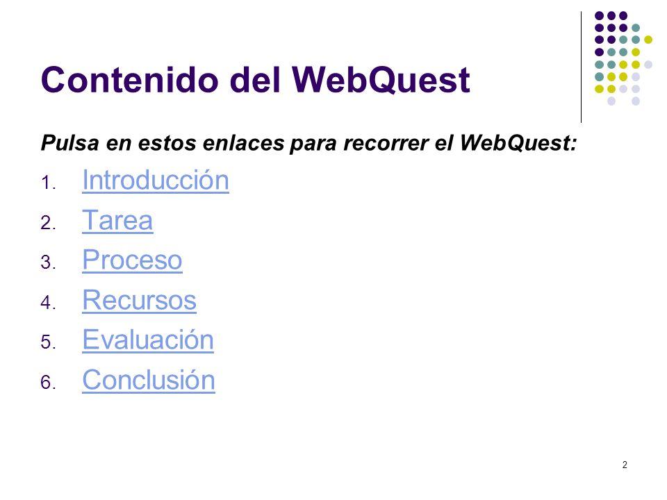 2 Contenido del WebQuest Pulsa en estos enlaces para recorrer el WebQuest: 1. Introducción Introducción 2. Tarea Tarea 3. Proceso Proceso 4. Recursos