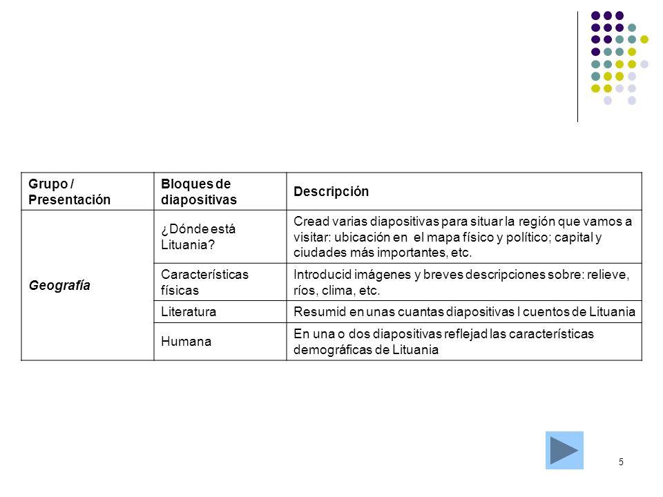 5 Grupo / Presentación Bloques de diapositivas Descripción Geografía ¿Dónde está Lituania? Cread varias diapositivas para situar la región que vamos a