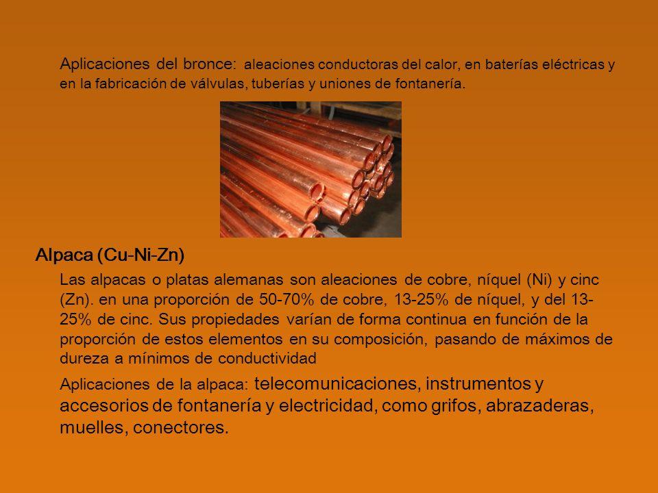 Otras aleaciones Cobre-cadmio (Cu-Cd): son aleaciones de cobre con un pequeño porcentaje de cadmio y tienen con mayor resistencia que el cobre puro.