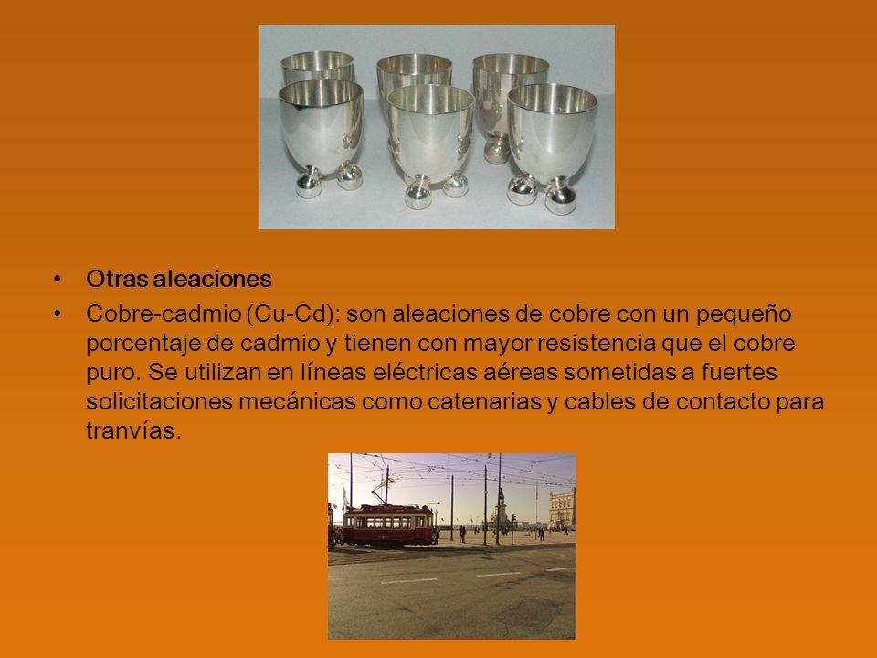 Cobre-cromo (Cu-Cr) y Cobre-cromo-circonio (Cu-Cr-Zr): tienen una alta conductividad eléctrica y térmica.