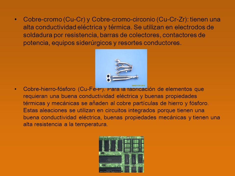 Cobre-aluminio (Cu-Al): también conocidas como bronces al aluminio y duraluminio, contienen al menos un 10% de aluminio.