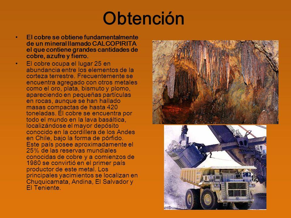 Producción Los yacimientos de cobre contienen generalmente concentraciones muy bajas del metal.