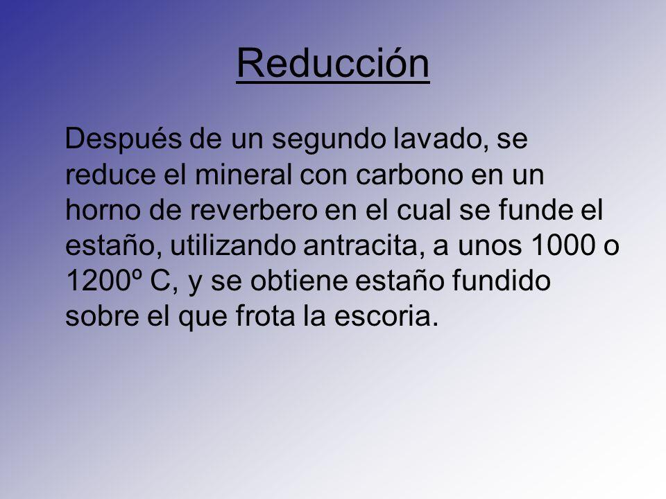 Reducción Después de un segundo lavado, se reduce el mineral con carbono en un horno de reverbero en el cual se funde el estaño, utilizando antracita,