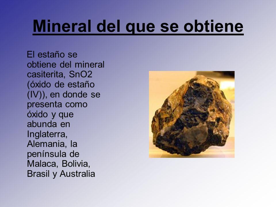 Mineral del que se obtiene El estaño se obtiene del mineral casiterita, SnO2 (óxido de estaño (IV)), en donde se presenta como óxido y que abunda en I