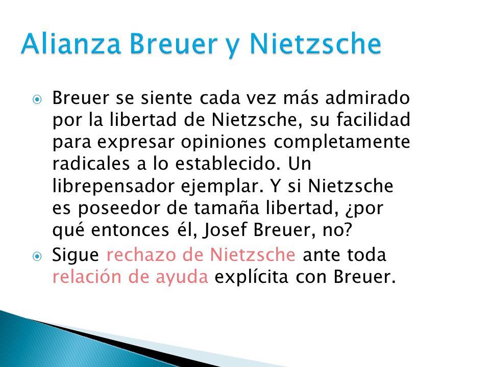 Breuer se siente cada vez más admirado por la libertad de Nietzsche, su facilidad para expresar opiniones completamente radicales a lo establecido. Un