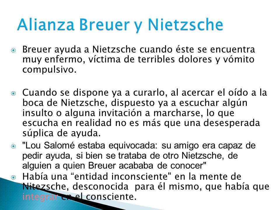 Breuer ayuda a Nietzsche cuando éste se encuentra muy enfermo, víctima de terribles dolores y vómito compulsivo. Cuando se dispone ya a curarlo, al ac