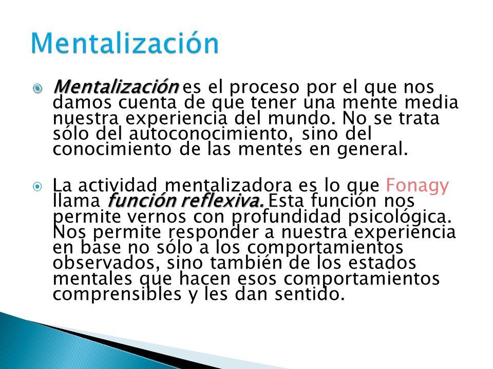 Mentalización Mentalización es el proceso por el que nos damos cuenta de que tener una mente media nuestra experiencia del mundo. No se trata sólo del