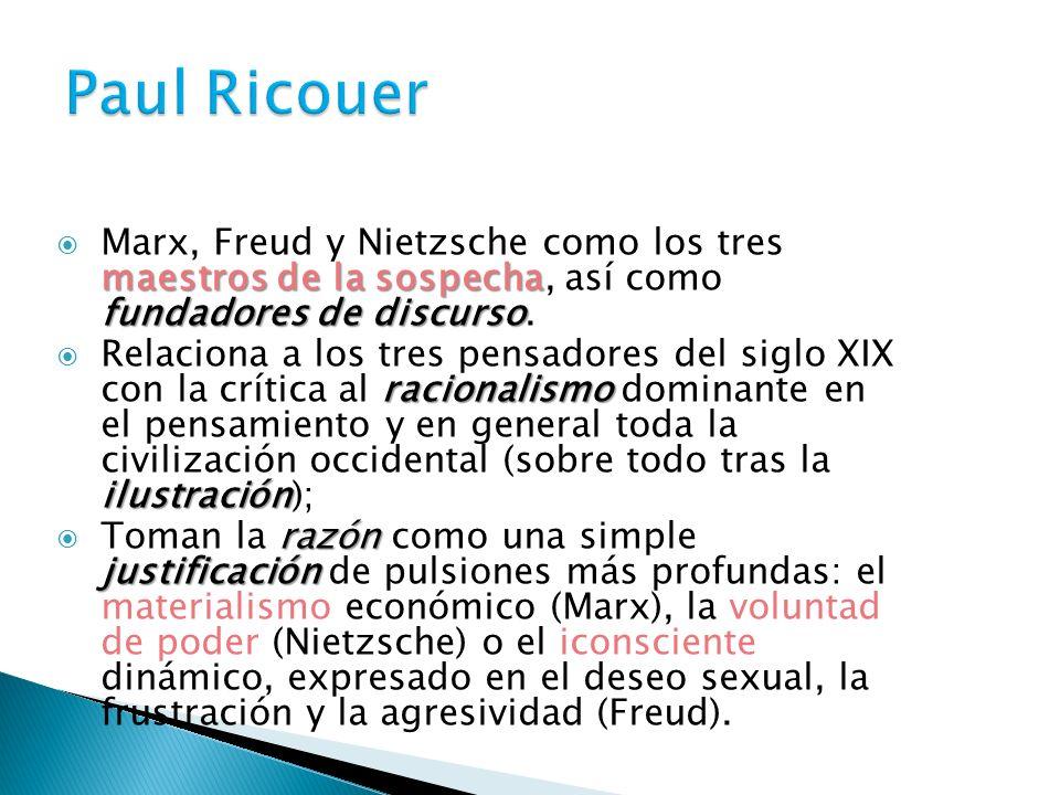 maestros de la sospecha fundadores de discurso Marx, Freud y Nietzsche como los tres maestros de la sospecha, así como fundadores de discurso. raciona