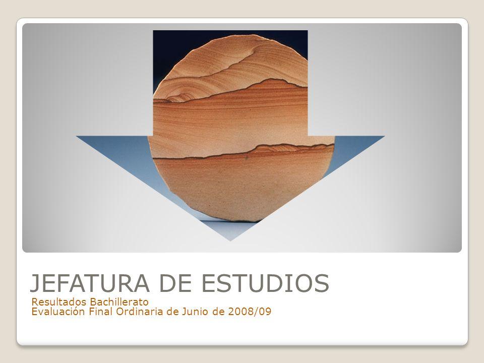 JEFATURA DE ESTUDIOS Resultados Bachillerato Evaluación Final Ordinaria de Junio de 2008/09