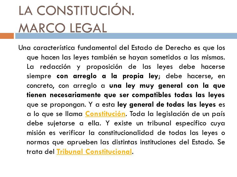 LA CONSTITUCIÓN. MARCO LEGAL Una característica fundamental del Estado de Derecho es que los que hacen las leyes también se hayan sometidos a las mism