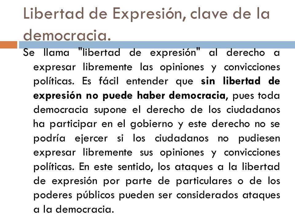 Libertad de Expresión, clave de la democracia. Se llama