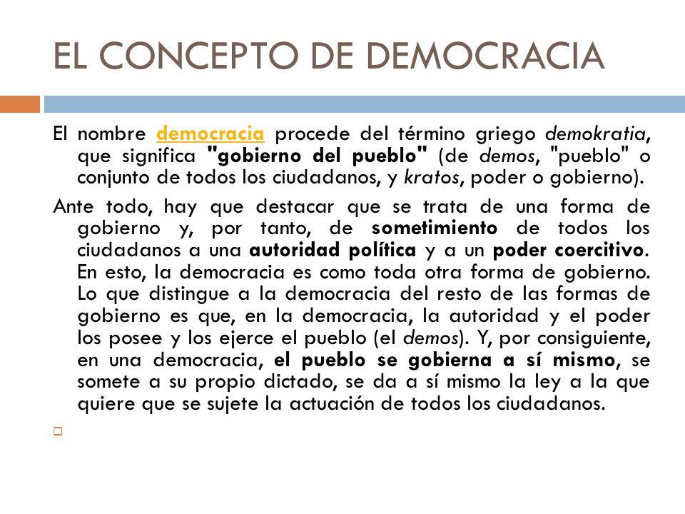 EL CONCEPTO DE DEMOCRACIA El nombre democracia procede del término griego demokratia, que significa