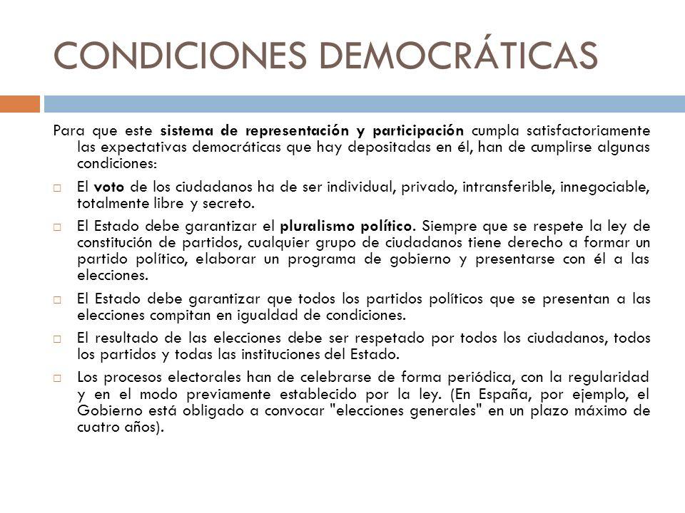 CONDICIONES DEMOCRÁTICAS Para que este sistema de representación y participación cumpla satisfactoriamente las expectativas democráticas que hay depos