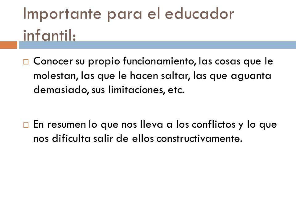 Importante para el educador infantil: Conocer su propio funcionamiento, las cosas que le molestan, las que le hacen saltar, las que aguanta demasiado,