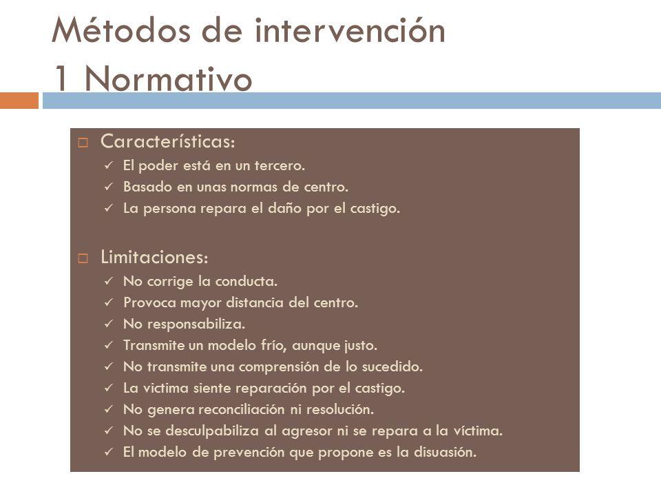 Métodos de intervención 1 Normativo Características: El poder está en un tercero. Basado en unas normas de centro. La persona repara el daño por el ca