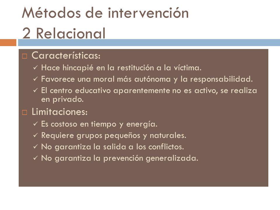 Métodos de intervención 2 Relacional Características: Hace hincapié en la restitución a la víctima. Favorece una moral más autónoma y la responsabilid