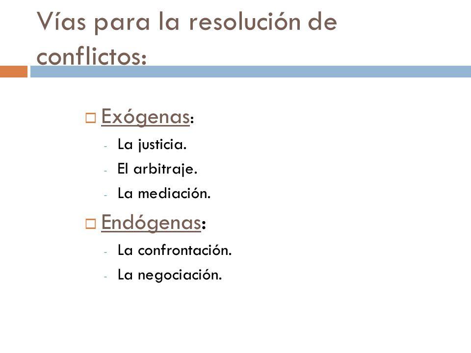 Vías para la resolución de conflictos: Exógenas : - La justicia. - El arbitraje. - La mediación. Endógenas: - La confrontación. - La negociación.