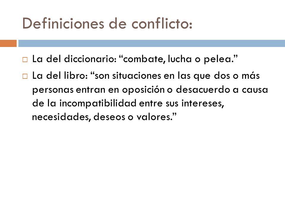 Definiciones de conflicto: La del diccionario: combate, lucha o pelea. La del libro: son situaciones en las que dos o más personas entran en oposición