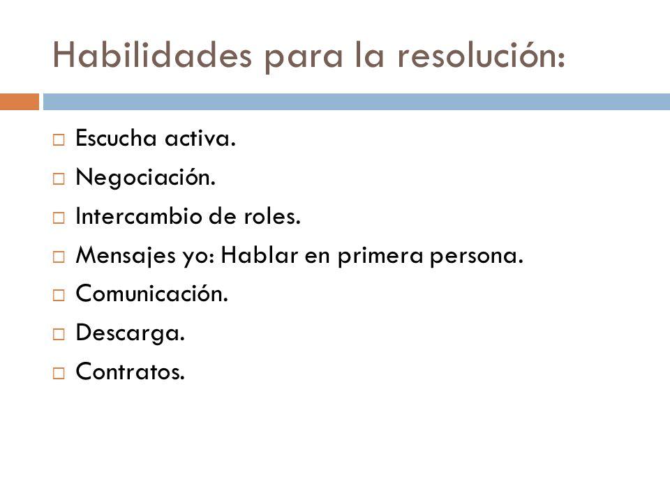 Habilidades para la resolución: Escucha activa. Negociación. Intercambio de roles. Mensajes yo: Hablar en primera persona. Comunicación. Descarga. Con