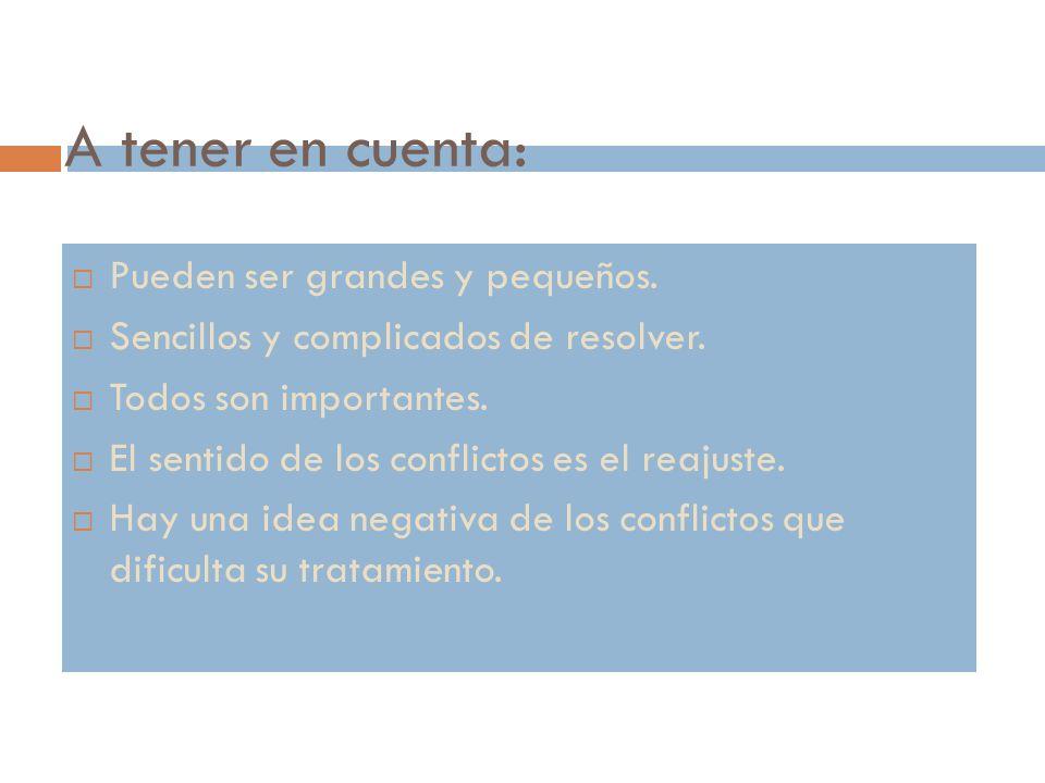 El método de resolución de conflictos: premisas.Empezar por lo sencillo.
