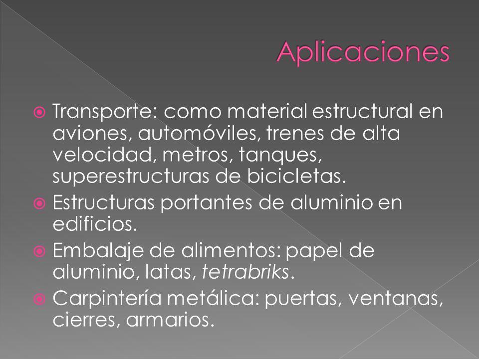 Transporte: como material estructural en aviones, automóviles, trenes de alta velocidad, metros, tanques, superestructuras de bicicletas. Estructuras