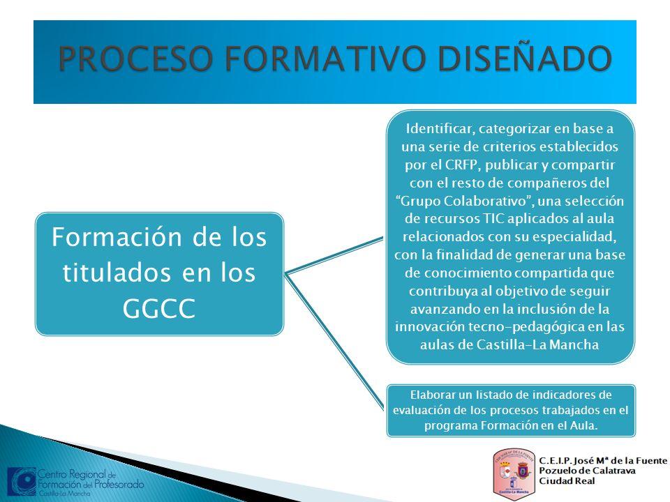 Formación de los titulados en los GGCC Identificar, categorizar en base a una serie de criterios establecidos por el CRFP, publicar y compartir con el
