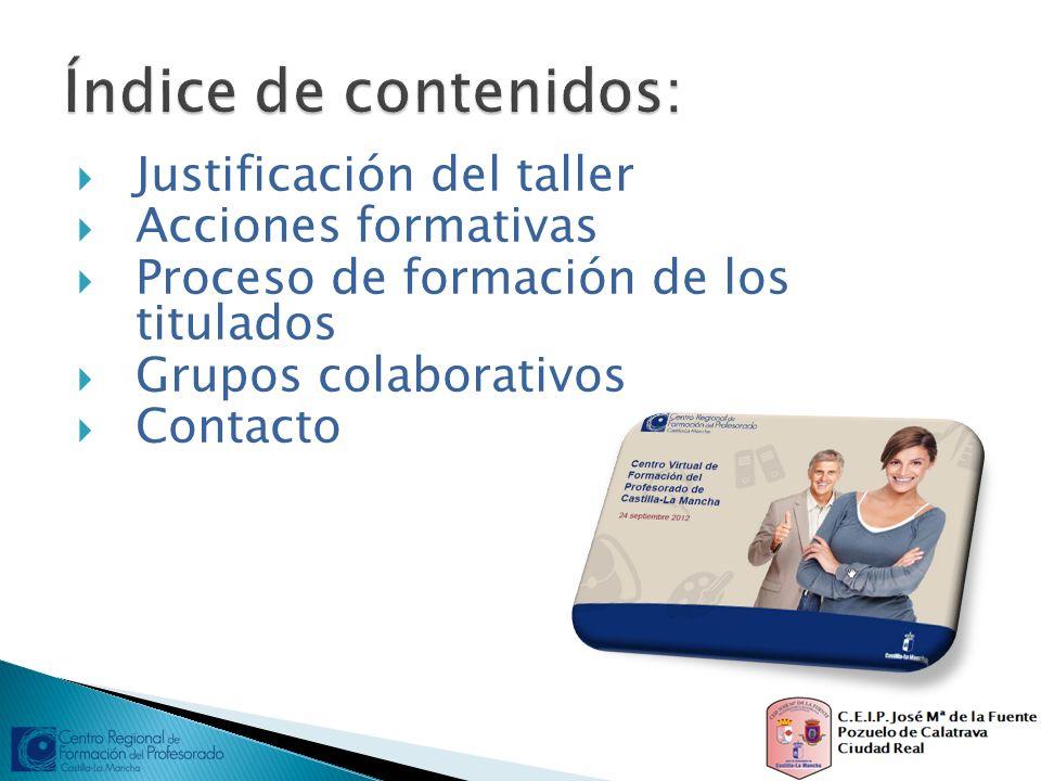 Justificación del taller Acciones formativas Proceso de formación de los titulados Grupos colaborativos Contacto
