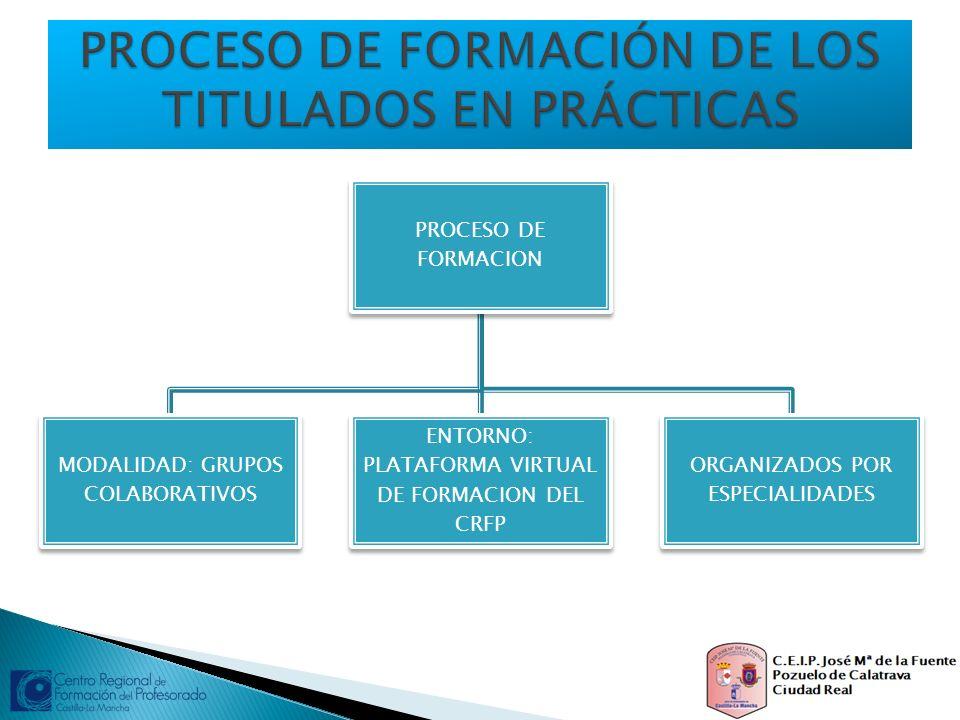 PROCESO DE FORMACION MODALIDAD: GRUPOS COLABORATIVOS ENTORNO: PLATAFORMA VIRTUAL DE FORMACION DEL CRFP ORGANIZADOS POR ESPECIALIDADES