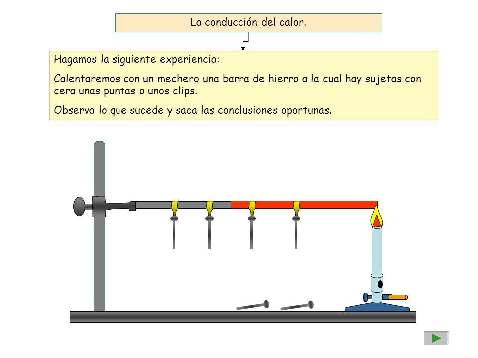 La conducción del calor. Hagamos la siguiente experiencia: Calentaremos con un mechero una barra de hierro a la cual hay sujetas con cera unas puntas